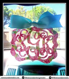 Lilly inspired Rear view mirror charm, Preppy Rearview mirror Monogram, Rear view mirror accessories, Rearview mirror accessories, any print by MemoryMakerStudio on Etsy