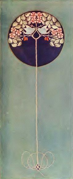 Illustration: Mackay Hugh Baillie Scott. Design for an embroidered hanging, c1903.