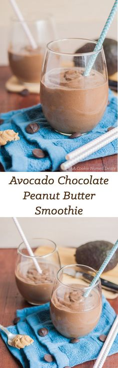 A creamy, thick avocado chocolate peanut butter smoothie that is like drinking a milkshake, but is secretly packed with healthy nutrients. Delicious snack for healthy kids! Avocado Smoothie, Smoothies Vegan, Smoothie Bol, Avocado Dessert, Breakfast Smoothies, Smoothie Drinks, Breakfast Healthy, Avocado Shake, Avocado Breakfast