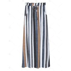 Drawstring High Waisted Striped Maxi Skirt (1,355 PHP) ❤ liked on Polyvore featuring skirts, ankle length skirts, high-waisted skirts, drawstring maxi skirt, floor length skirt and striped skirts