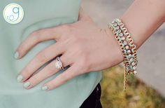 Mint Wrapped Crystal Strand Bracelet  by Groopdealz