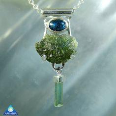 Kyanite Raw Moldavite & Tourmaline Crystal by ArkadianCollection