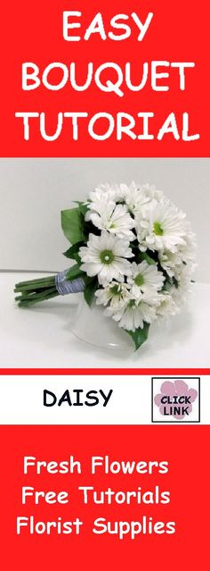 WHITE DAISY DIRECTIONS FREE TUTORIALS!  http://www.wedding-flowers-and-reception-ideas.com/make-your-own-wedding.html  Learn how to make daisy bridal bouquets, corsages, boutonnieres, centerpieces, church florals and more.  Buy wholesale flowers and discount floral supply products.