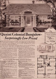 Realty in the Depression era. The price of the house is equivalent to one month's rent these days. 1930 Potomac - Kit Home - Montgomery Ward - Colonial Revival Cottage