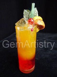 WOO & LOCKE Rare Vintage 1980's Refrigerator Magnet – Tequila Sunrise Cocktail