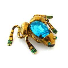 Czechoslovakia Rhinestone Frog Brooch Vtg 1930s Czech Glass Enamel Figural Pin | eBay