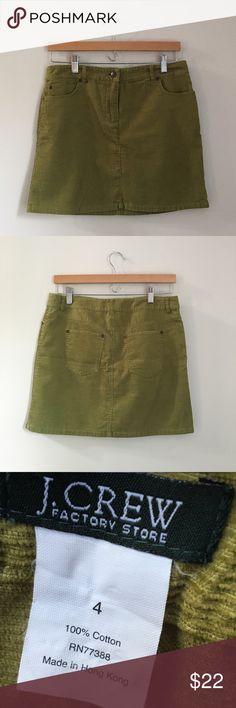 J. Crew Factory Corduroy Miniskirt Olive green classic corduroy miniskirt. Size 4. EUC!! J. Crew Factory Skirts Mini