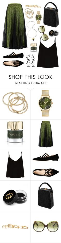 """Pleated skirt"" by ana-amorim ❤ liked on Polyvore featuring ABS by Allen Schwartz, Henry London, Smith & Cult, Raoul, Raey, Carlo Pazolini, Gucci, Bertoni, Kendra Scott and Fendi"