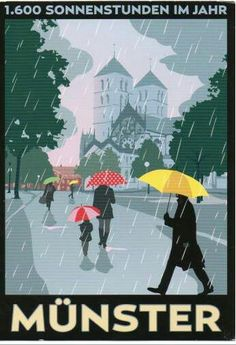 So, people tell it's always raining in Münster Oh The Places You'll Go, Places To Travel, Munster Germany, Art Deco Posters, Work Travel, Vintage Travel Posters, Grafik Design, Graphic Design Illustration, Jason Brooks