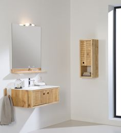 Femty bathroom furniture made of distressed wwod.