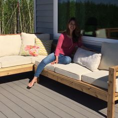 outdoor furniture Check out this project on RYOBI Nation - This Outdoor Sofa Sectional Piece is a great way to expand your already existing Outdoor Couch into the perfect L-Shaped or U-Shaped Sofa! Modern Outdoor Sofas, Outdoor Couch, Outdoor Living, Outdoor Benches, Outdoor Sectionals, Outdoor Pallet, Outdoor Sheds, Outdoor Cushions, Outdoor Play