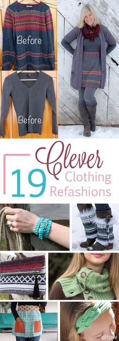 Refashioning old clothes into new, beautiful pieces makes shopping at the thrift store (or even in your own closet) feel like a gold mine! Update your wardrobe without spending a lot of money with the (Thrift Store Diy Clothes) Old Sweater, Sweaters, Sewing Crafts, Sewing Projects, Sewing Tips, Fabric Crafts, Upcycled Crafts, Recycled Art, Sewing Hacks