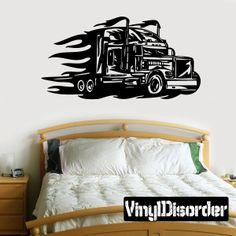 Semi Truck Wall Decal - Vinyl Decal - Car Decal - DC 045
