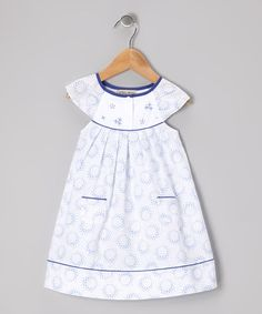 Take a look at this White & Blue Floral Yoke Dress - Infant & Toddler by P'tite Môm on #zulily today!