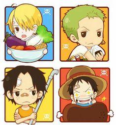 Luffy, Ace, Zoro and Sanji. Kawaii =)