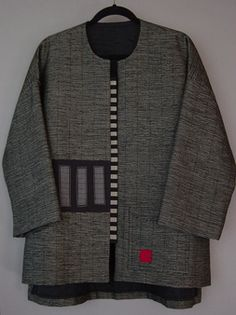 Long Kimono Jacket with Abstract Squares