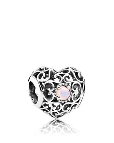Pandora Charm - Sterling Silver & Crystal October Signature Heart