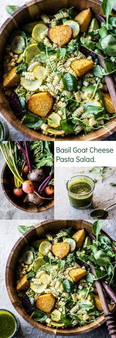 Basil Goat Cheese Pasta Salad