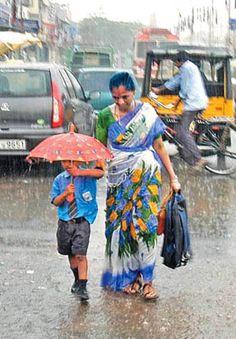 Mom walking her son to school