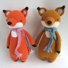 Tall fox with scarf amigurumi crochet pattern by Little Bear Crochet