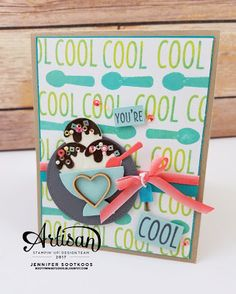The Cool Treats stamp set and Tasty Treats DSP make for some fun summertime cards. - Jennifer Sootkoos