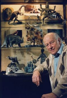 Ray Harryhausen with his movie creations