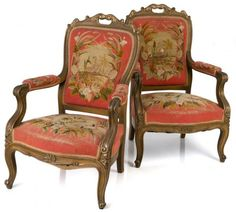PAIR CARVED GILTWOOD FRENCH VICTORIAN ARM CHAIRS : Lot 43