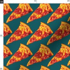 Pepperoni Pizza Fabric - Pepperoni Pizza By Kellygilleran - Retro Pizza Kitchen Decor Cotton Fabric By The Metre by Spoonflower Gauze Fabric, Cotton Twill Fabric, Satin Fabric, Cotton Canvas, Pizza Kitchen, Kids Canvas, Food Patterns, Food Illustrations, Pepperoni