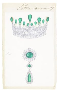 Ksenia (Xenia) Alexandrovna, Grand Duchess of Russia (6 April 1875 – 20 April 1960) PERSONAL ILLUSTRATED INVENTORIES OF JEWELLERY AND BIBELOTS FROM 24TH JUNE 1880 TO 1905, AND OF JEWELLERY FROM 12 JANUARY 1894 TO 25 MARCH 1912, IN TWO VOLUMES.
