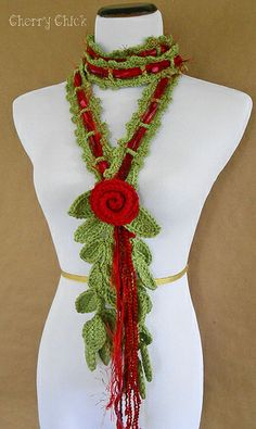 Red Cottage Rose Lariat Scarf...crocheted...Made in America