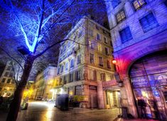 I love how these foreign cities sometimes illuminate their trees with unexpected lights. If I were on a city council somewhere, I'd light up everything in the city strange colors at night. I don't know what else the city council does… besides bickering about nonsense… I wish they would focus on making things prettier at night. - Lyon, France - photo from #treyratcliff Trey Ratcliff at http://www.StuckInCustoms.com