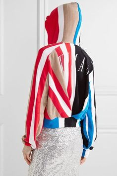 Off-White | Striped printed cotton-terry hooded top  | NET-A-PORTER.COM