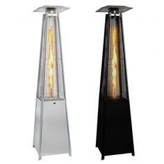 Real Flame Pyramid Outdoor Patio Heater in Stainless Steel or Black Patio Gas, Propane Patio Heater, Propane Cylinder, Outside Furniture, Gas Lights, Black Garden, Canned Heat, Patio Design, Stainless Steel