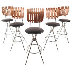 Set of Five Mid-Century Modern Swivel Bar Stools