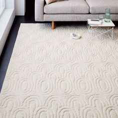 Radiating Ovals Wool Rug - Ivory | west elm