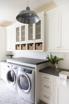 Marie Flanigan Interiors - Modern Farmhouse Style - Industrial Lighting - Laundry Room