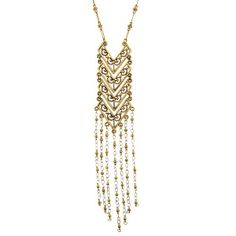 T.R.U. Matte Gold-Tone Chevron Tassel Necklace #bohochic #modernhippie #fashion #jewelry #TRU #1928jewelry #tassels