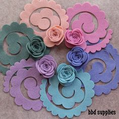 Watercolors Large 3D Rolled Roses 12 Die Cut Felt Flowers