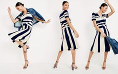 Copy this J.Crew women's outfit. As easy as 1, 2, 3. 1. Horizontal stripes. 2. Vertical stripes. 3. A dark denim layer. Denim jacket in Newton wash, wool striped short-sleeve v-neck sweater, wool striped sweater skirt and knotted sandals.