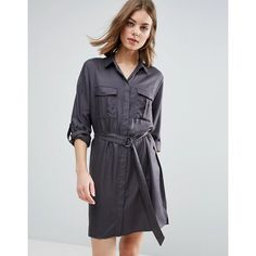 b.Young Gillian Shirt Dress ($52) ❤ liked on Polyvore featuring dresses, brown, long shirt dress, tall dresses, long sleeve shirt dress, tall shirt dress and brown dress