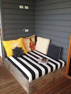 outdoor reading nook on the deck.