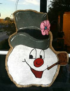 Frosty the Snowman burlap door hanger by NikkiDsCreations on Etsy