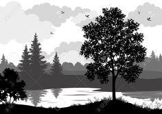 Пейзаж, деревья, река и птиц, черный и серый силуэт контур на белом фоне. Вектор
