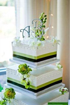 Preppy wedding cake idea   cakes with ribbon
