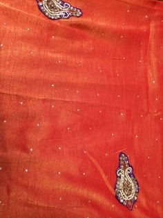 "orange silk ""tissue"" (sheer) sari with purple bling"