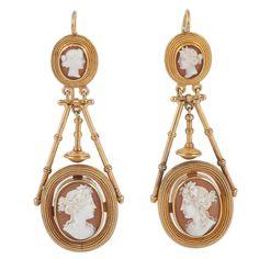 Victorian Cameo drop earrings. Stunning Victorian Gold and hardstone Cameo drop earrings with Vatican workshop hallmarks. c 1875