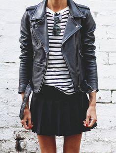 Le perfecto a le chic pour twister les pièces girly ! (ici la jupette décolière - photo Pepamack) Clothing, Shoes & Jewelry : Women http://amzn.to/2jtYPKg