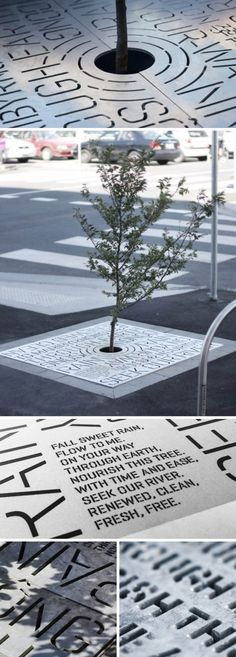 """HeineJones, an interdisciplinary design consultancy based in Melbourne, was approached by the city council of Footscray to design an interpretive solution describing the function and intent of a new """"rain garden"""" installed as part of a streetscape redevelopment for Leeds Street. HeineJones' solution presented the function and intent of a water garden as a piece of poetry, laser cut though the steel plate of the tree grates."""