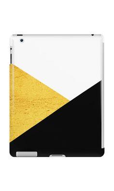 Gold & Black Geometry ipadcase by ARTbyJWP from Redbubble   #padcase #ipadcase #techaccessories #padaccessories #buyart #artprints #3Dart #framedart #abstract #minimal #modern #golden #black #triangles #redbubble #artbyjwp