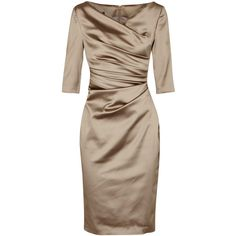 Talbot Runhof Gold ruched satin dress ($1,225) ❤ liked on Polyvore featuring dresses, ruched cocktail dress, brown dress, rouched dress, gold dress and gold cocktail dress